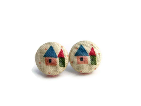 Miniature House Fabric Button Earrings - Colorful Earrings